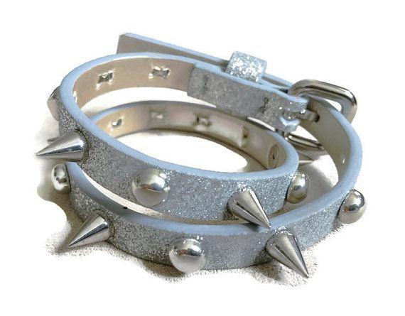 Women's spike silver bracelet cuff sparkly by ChristyKeysCreations