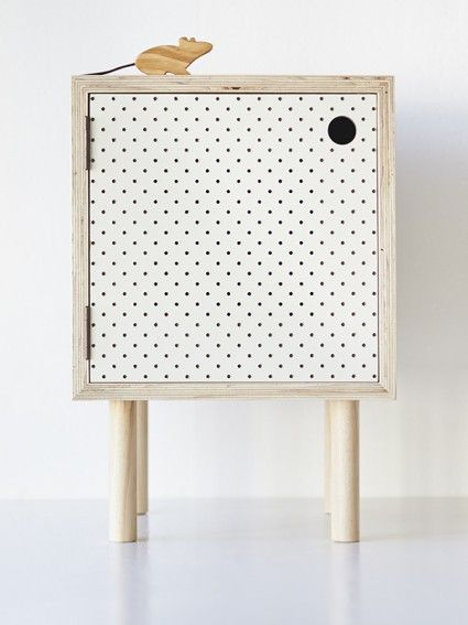 Bedside Table – Ply and white pegboard