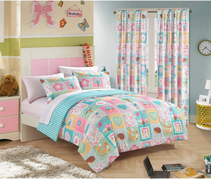 Girls Teen Kids FULL Comforter Bedding Set Geometric Look + 2 Shams + Sheet Set Owl Pink Aqua Blue Turquoise Green + Linens Beyond Keychain 7 Piece Comforters Sets For Girl //Price: $53.28 & FREE Shipping //     #bedding sets