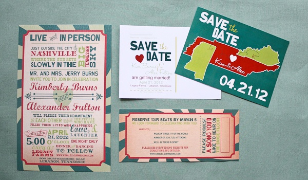 Concert poster invitation with ticket reply card and coordinating save the date with states