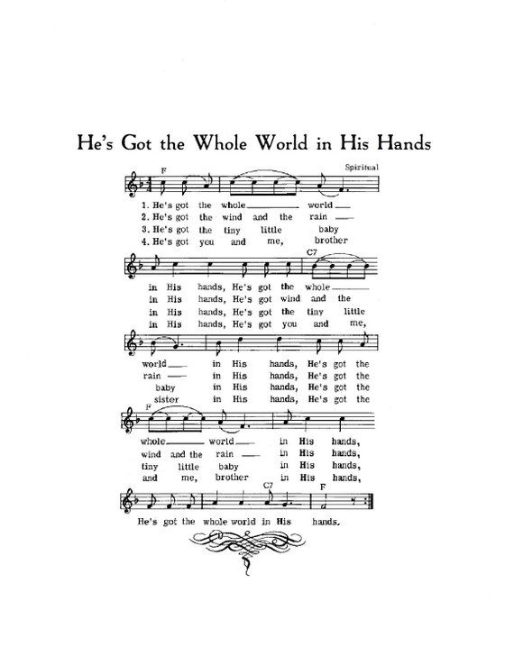 He's Got the Whole World in His Hands Hymn Digital Sheet ...