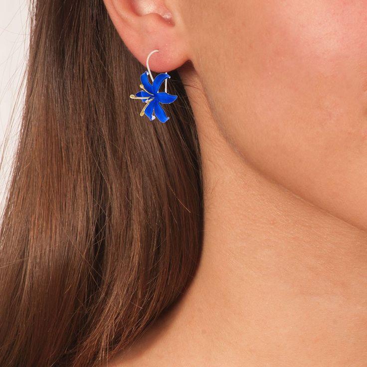 Handmade Silver Royal Blue Flower Drop Earrings - Anthos Crafts