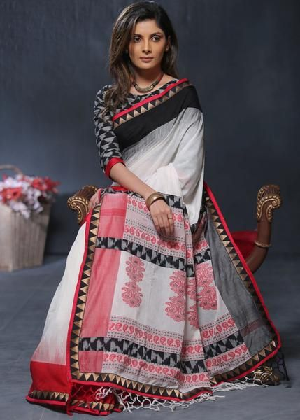 75c5363b01 Soft handloom cotton saree with exclusive thread work pallu and matching  blouse piece as shown
