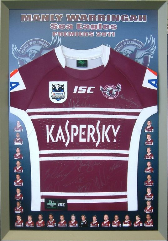 Manly Warringah Sea Eagles 2011 Premiers Signed and Framed Jersey