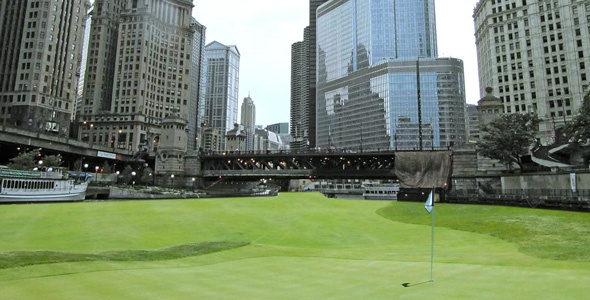 Downtown Chicago golf course proposed hole number 1 from ChicagoGolfReport.com.