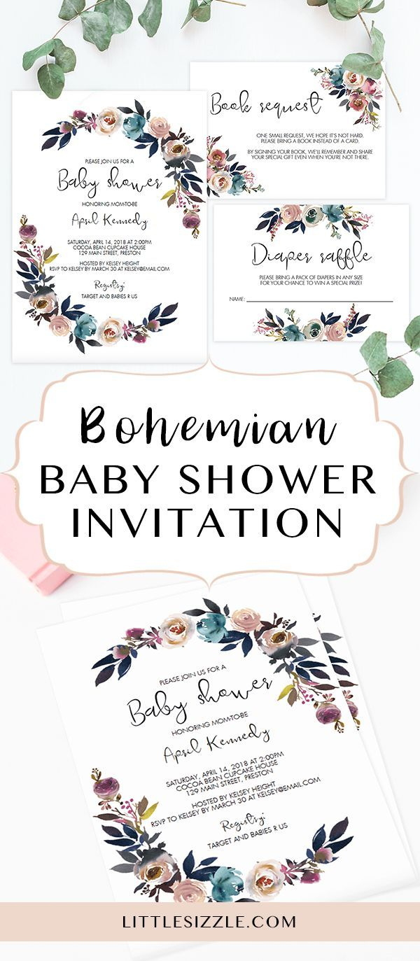 Boho themed baby shower ideas by LittleSizzle. Bohemian baby shower invitation template. Click through to create your own boho baby shower invite or re-pin for later! Treat the mom-to-be with a baby shower to remember with this stunning boho chic baby shower invitation set. With its gorgeous watercolor florals, this baby shower invite will definitely set the tone for what's to come in the celebration. It is perfect for any outdoor baby shower and boho themed or floral party in spring.