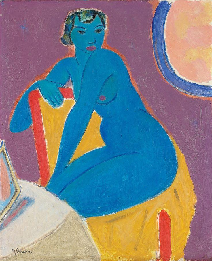 Johs. Rian (1891-1981) - Blå akt - Olje på plate - 46x38cm. - Grev Wedels Plass Auksjoner AS - @~ Mlle