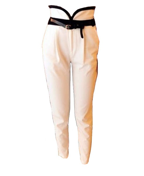 These are a blast from the past... I remember having jeans with a waist similar to these back in the 80's~~~White Harem Pants with Contrast Waistband