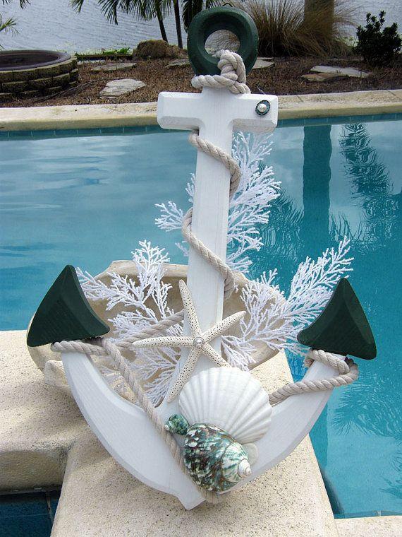 Christmas Anchor with Seashells Home Decor