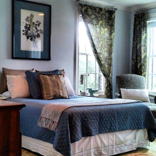 World Market Curtains, HomeGoods Linens U0026 Pillows, Thrift Store Art U0026  Chair, Tuesday Morning Lamps.