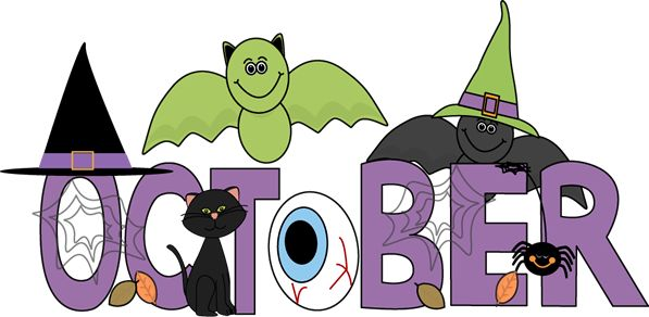 Free Month Clip Art | Month of October Halloween Clip Art Image - the word October in purple ...