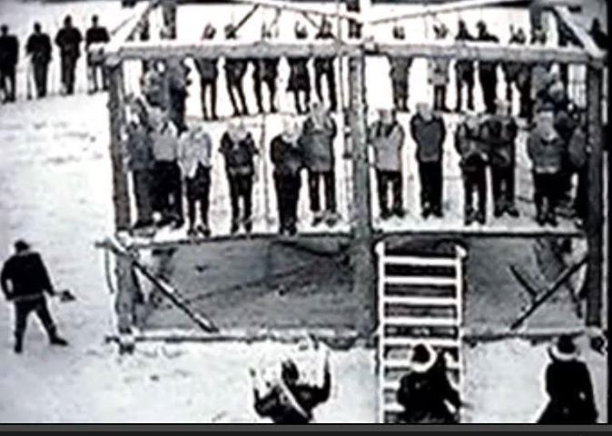 Largest Mass Hanging in US History: 38 Dakota Warriors hung in Mankato, Minnesota- December 26, 1862,