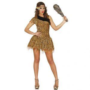 Ce costume de femme des cavernes sexy comprend une robe. Il est disponible en taille unique M. La robe courte est asymétrique: un bras possède une manche courte, l'autre possède une bretelle. Le décolleté est décoré à l'aide de fausse fourrure noire. Le b