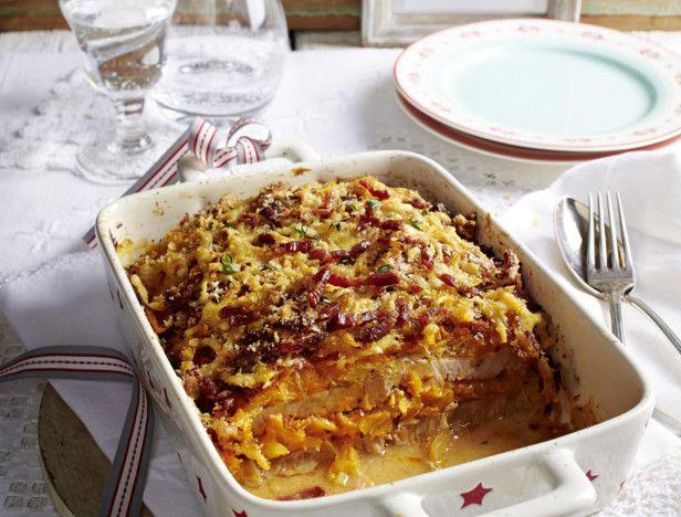 Schnitzel-Lasagne mit Kartoffeln und Kürbis