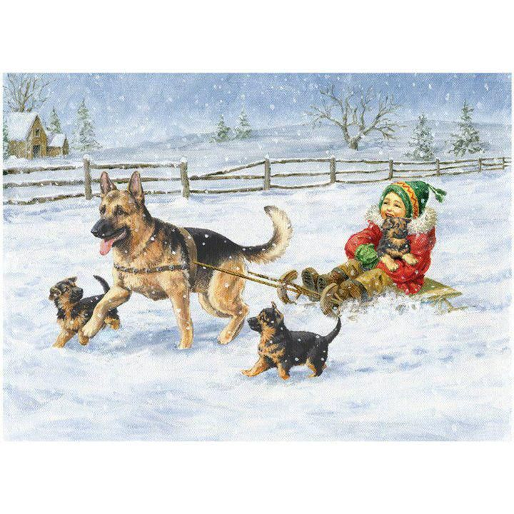 jingle all the way~~ German Shepherd Dog Christmas Holiday card