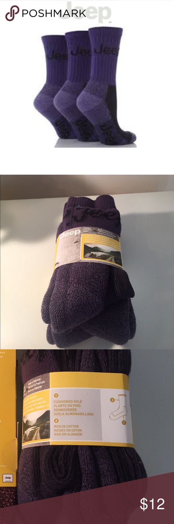 JEEP Boot Socks NEW 3 Pack Purple Warm Sz 5-8 JEEP Boot Socks NEW 3 Pack Purple Heavy Warm Sz 5-8 cushioned sole , 73% cotton 22% polyester 3% nylon 2% spandex JEEP Accessories Hosiery & Socks
