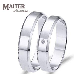 #alianza #boda #oro blanco estilo clásico con #diamante. Más opciones en www.joyasmaiter.com