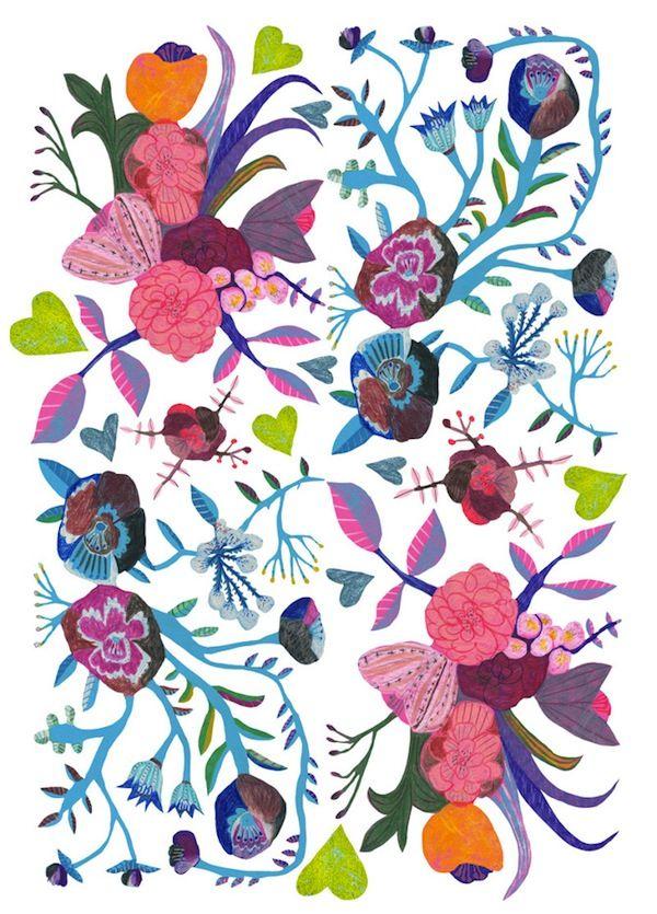 Monika Forsberg.Flower Painting, Colors Flower, Monika Forsberg, Floral Patterns, Floral Design, Pattern Design, Illustration, Art, Flower Pattern