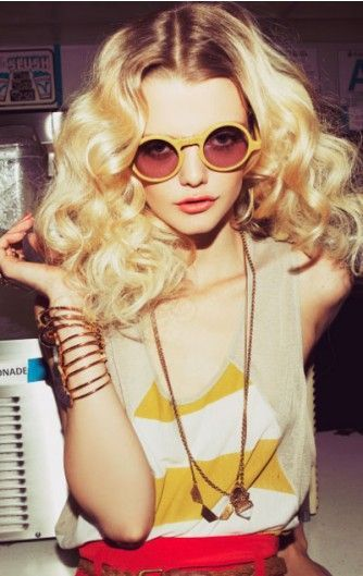 Disco Doll More 70S Fashion, Blondes Hairstyles, Big Curls, Vintage Hairstyles, Vintage Sunglasses, Planets Blue, Round Sunglasses, Photo Shooting, Eye Glasses photo shoot yellow vintage eye glasses Cool Long Curly Blonde Hairstyle - Homecoming Hairstyles 2014 Peekabooda - Vintage Sunglasses - Planet Blue x Foam Magazine Coachella Big curls | Round Sunglasses les lunettes~... vintage hairstyle