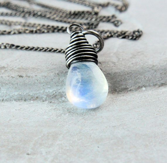 White Moonstone Necklace Oxidized  Silver Gemstone by Hildes
