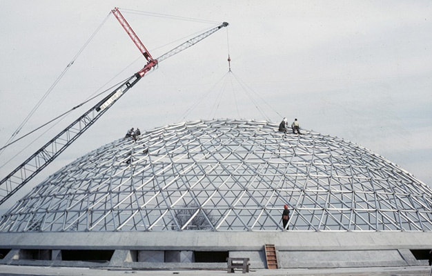 The Bloedel Conservatory opened in 1969 and is seen here under construction.