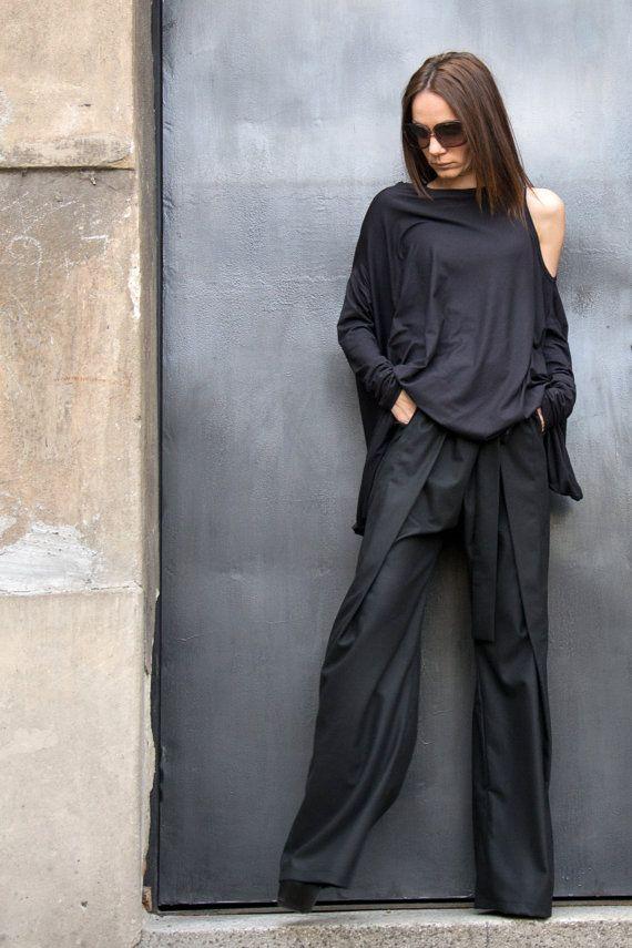 Loose Linen Black Pants / Wide Leg Pants Autumn by Aakasha on Etsy, $95.00