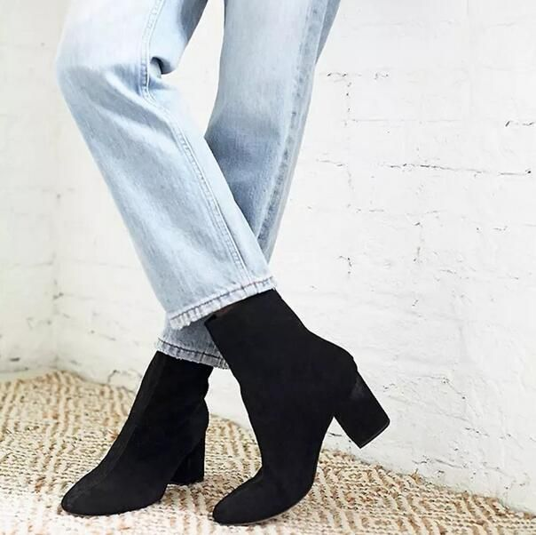 Women's winter 2016 new arrival frosted elastic leather short boots thick heel female bristish style retro martin boots