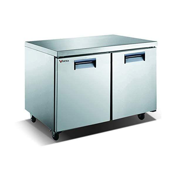 Vortex Refrigeration Commercial 2 Door 48 Under Counter Freezer 12 Cu Ft Steel Shelf Door Handles Corner Designs