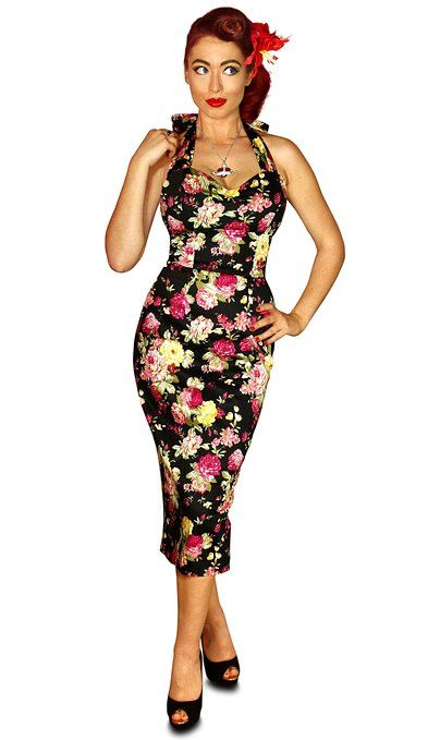 28473e8d8b9 British Retro Vintage 50s Style Pencil Wiggle Dress Made in UK Black Floral  8