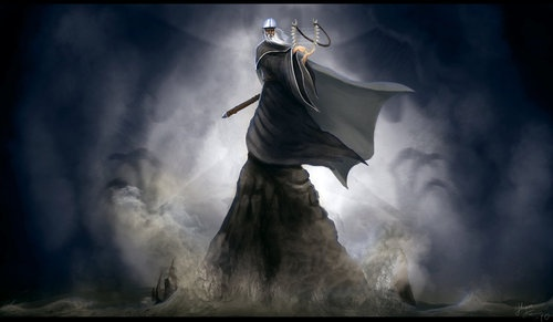 Väinämöinen,the main character in Kalevala, the Finnish epic. Originally a Finnish god, he was described as an old and wise man, and he possessed a potent, magical voice. --  Väinämöinen has been identified as a source for Gandalf, the wizard in Tolkien´s Lord of the Rings.