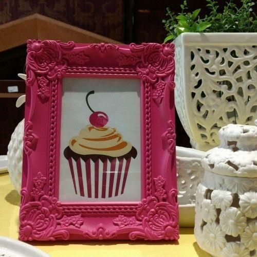Porta Retrato Rococo Pink #decoracao #cupcake #retro #casaequipada