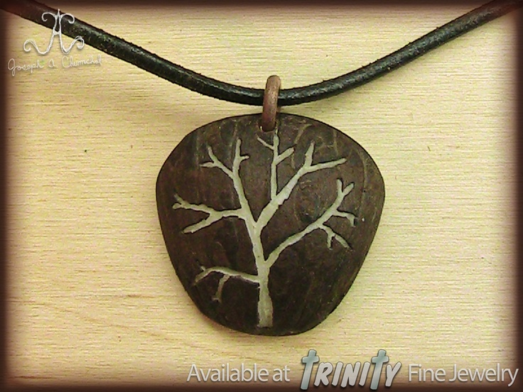 Handcrafted Carved Tagua Nut Tree Pendant