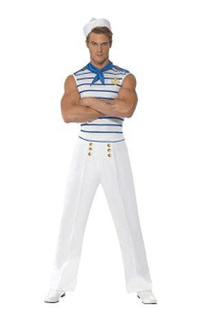 Matroos kostuum voor heren. Matrozen kostuum in de Franse stijl. Het matroos kostuum voor heren bevat de top in de kleur blauw/wit gestreept, broek in de kleur wit met gouden knoopjes en een blauw sjaaltje. Carnavalskleding 2015 #carnaval