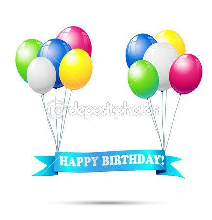 Nastro con testo buon compleanno, palloncini colorati, illustrazione vettoriale, eps 10, appeso con trasparenza e maglia gradiente