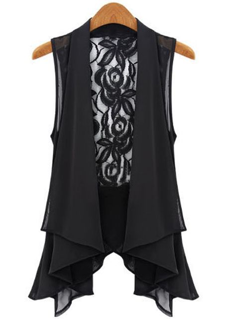 Stunning Irregular Clipping Lace Patchwork Black Waistcoats for Lady