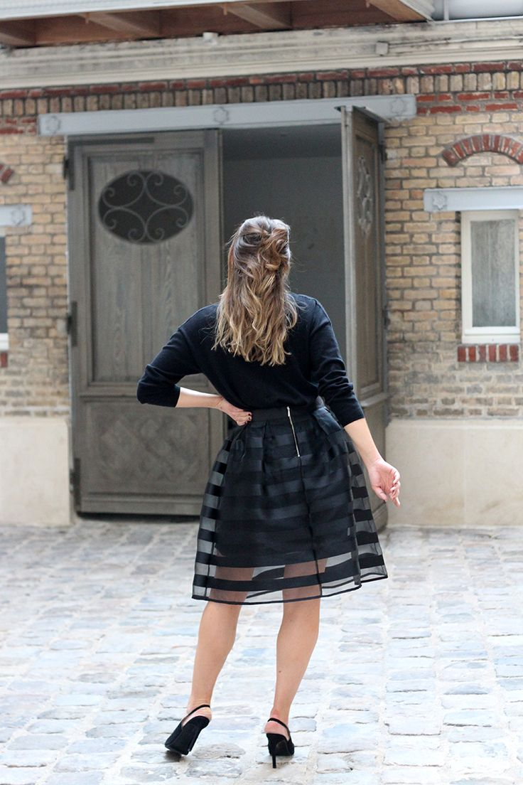 Classic Black Cocktail Outfit - Black A-line Skirt + Oversized Cashmere Jumper