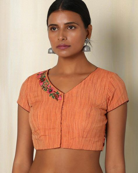 Buy Orange The Blouse Factory Handwoven Cotton Blouse with Embroidery