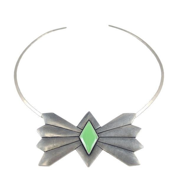 The Bandit Bow Tie Choker / Antique Silver with Green Enamel: Bow Ties, 2B Necklaces, Bows, Antique Silver, Green Enamel, Bandit Bow, Antiques, Enamels