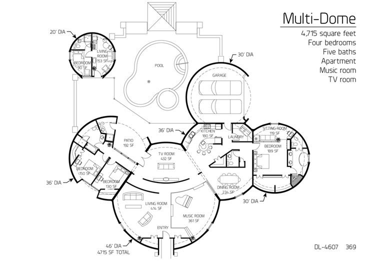 4,715 Square Feet Four Bedrooms Five Baths · Earthship PlansUnique Floor PlansDome  HouseRound ...