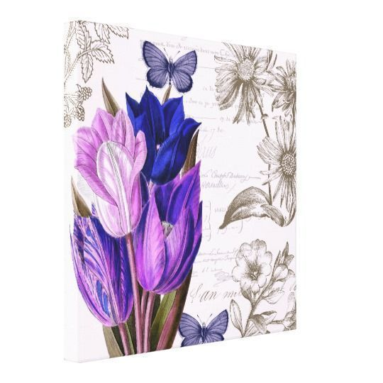 Purple home decor is absolutely adorable no matter if you like pale purple, lavender, lilac, magenta or violet purple home decor.  A purple themed home is easy to achieve by using purple wall art, purple throw pillows, purple throw blankets and purple area rugs.  Use this along with other purple wall art to create a relaxing, funky home decor theme #purple  Purple Tulips Botanical Canvas Print