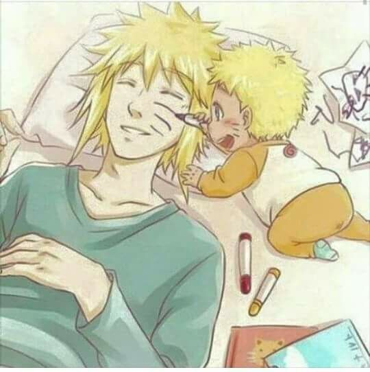 Awww ♥♥♥Naruto drawing whiskers on Minato's face to look the same ♥♥♥ #SoCute #Father #Hokage #Baby
