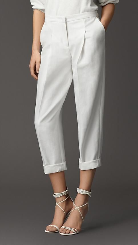Burberry London Pleat Detail Cotton Silk Trousers