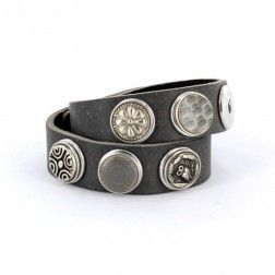 Noosa Armband grau doppelt gewickelt WDS-060-04