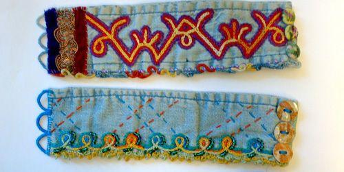 Armband av manschetter från avlagda jeansskjortan - embroidered cuffs