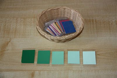 "Counting Coconuts: DIY Montessori Color Tablets for ""color grading"" (using paint sample cards)"