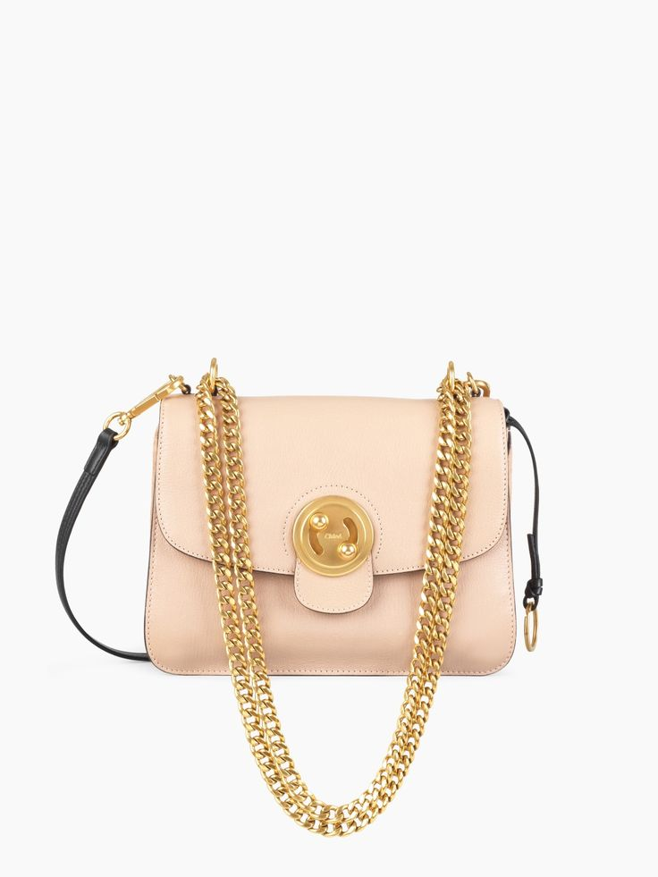 Medium Mily biscotti beige shoulder bag with chain & turn lock from our Spring 2017 collection