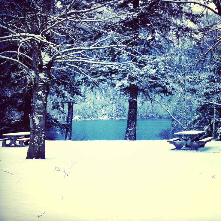 Winter wonderland! Lake in the woods in hope! When taking pictures many orbs were showing up in a lot of the pictures. It was a little creepy! Definitely a lot of spirits in this spot. Photo taken by Iyshia Brenner