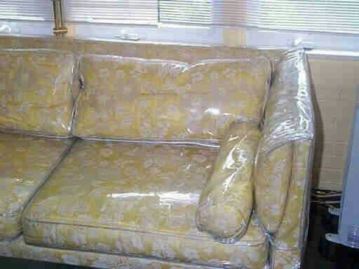Houses that covered their sofas in plastic also used plastic runners over the carpet traffic areas.