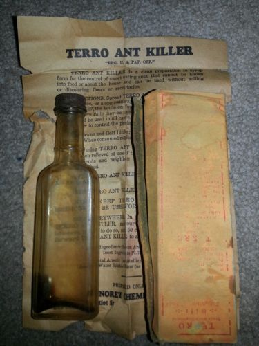 Antique/vintage Terro Ant Killer Poison Bottle In Box With Instructions!!!!