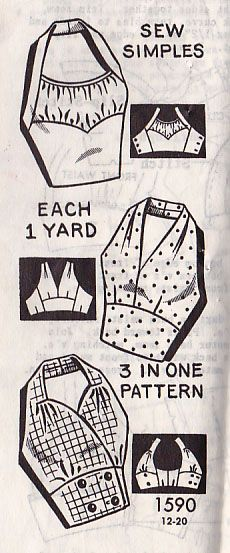 This is the swimsuit pattern I want. 1957 halter top pattern